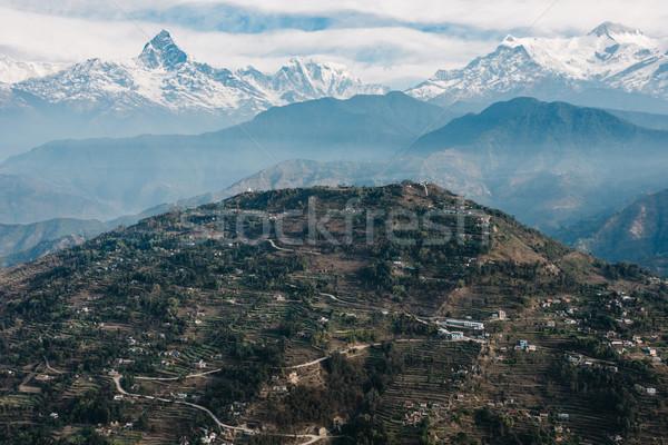 Colina Nepal naturaleza paisaje nieve Foto stock © dutourdumonde