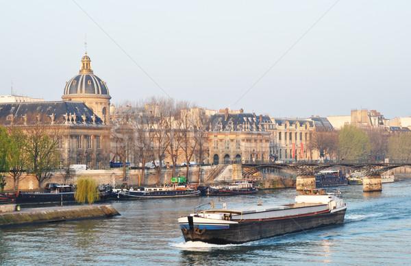 A barge on the river Seine, Paris Stock photo © dutourdumonde
