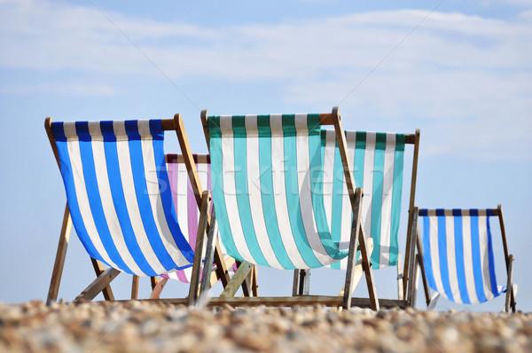 Deck chairs on Brighton beach Stock photo © dutourdumonde