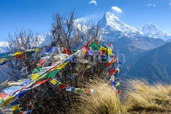 Sur Nepal naturaleza montana bandera tejido Foto stock © dutourdumonde