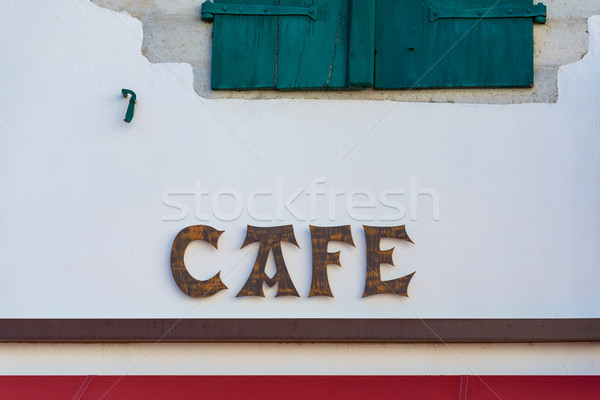 Cafe sign in the Basque country Stock photo © dutourdumonde