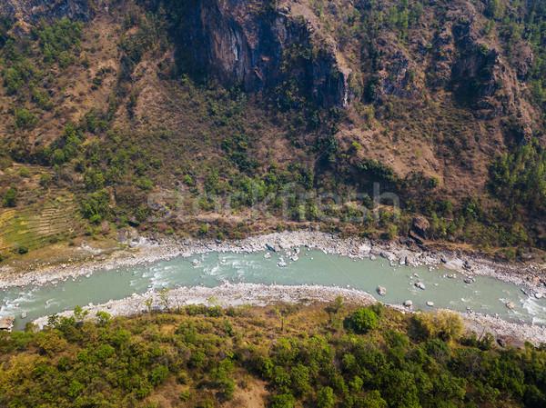 Nehir Nepal derin su ağaç Stok fotoğraf © dutourdumonde