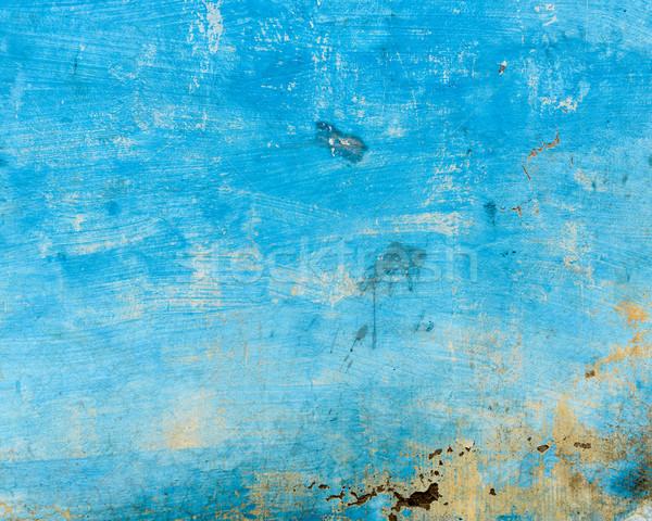 Stock photo: Grungy blue wall
