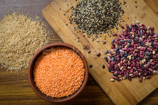 Lentils, red beans and brown rice Stock photo © dutourdumonde