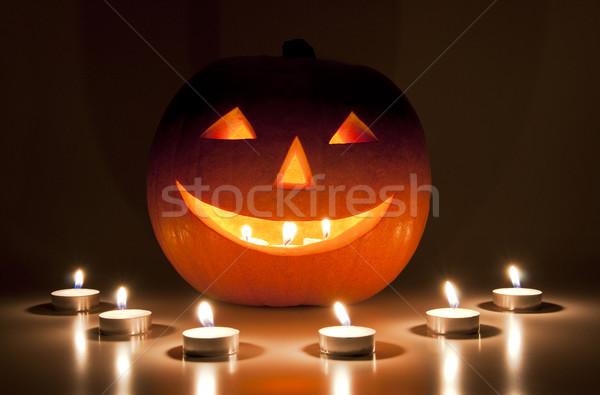 Halloween Laterne Kerzen Essen Lächeln Nacht Stock foto © dutourdumonde