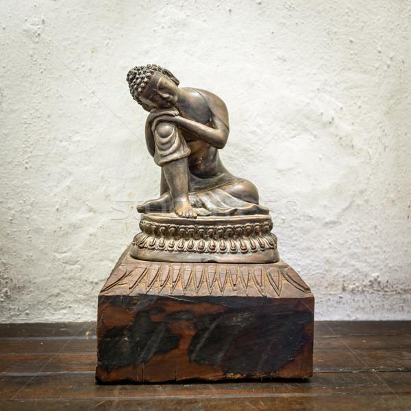 木製 仏 像 小 白 壁 ストックフォト © dutourdumonde