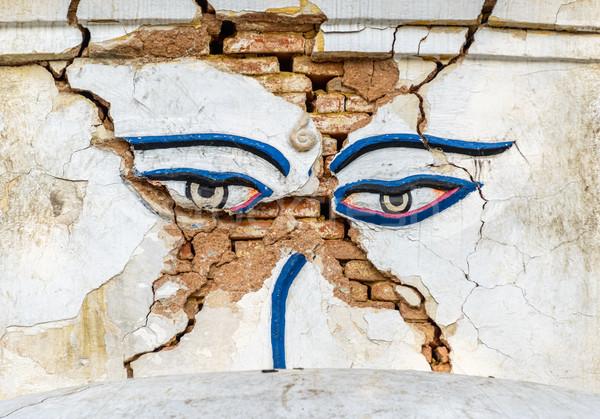Earthquake damaged Buddha's eyes Stock photo © dutourdumonde