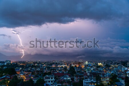 Ciel ville nature nuage foudre Photo stock © dutourdumonde