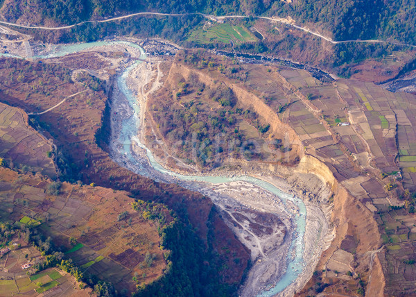 River aerial view in Nepal Stock photo © dutourdumonde