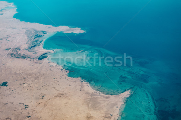 Stock photo: Aerial view of a coastal region in Qatar