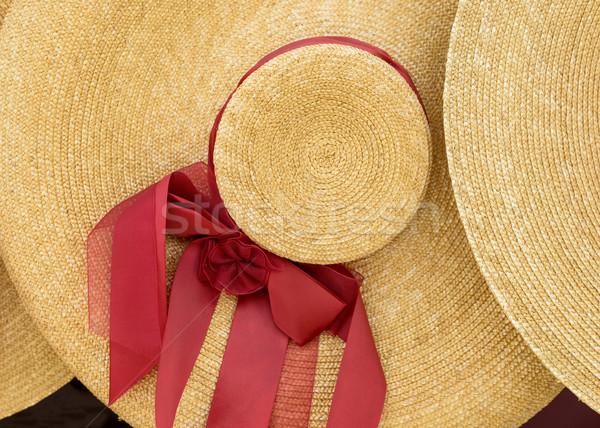 Hasır şapka çiçek kadın dizayn Retro Stok fotoğraf © dutourdumonde
