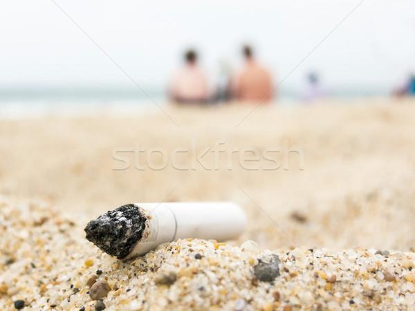 Sigaret butt strand verontreiniging zee schoonheid Stockfoto © dutourdumonde