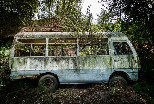 捨てられた マイクロバス ネパール 車 レトロな 錆 ストックフォト © dutourdumonde