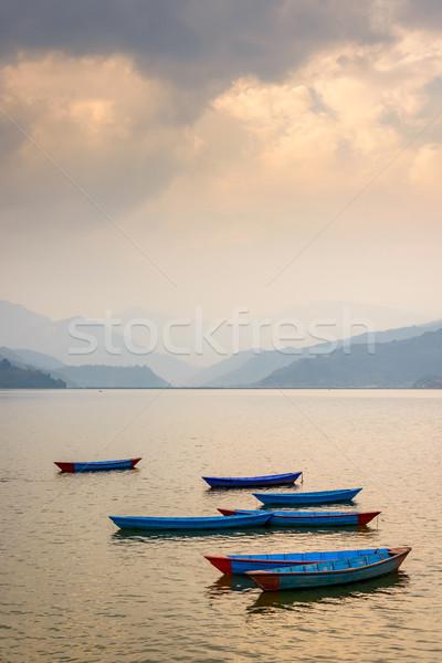 Göl Nepal gün batımı gökyüzü su doğa Stok fotoğraf © dutourdumonde