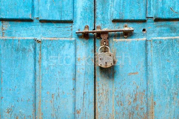 Asma kilit mavi kapı Nepal arka plan Stok fotoğraf © dutourdumonde