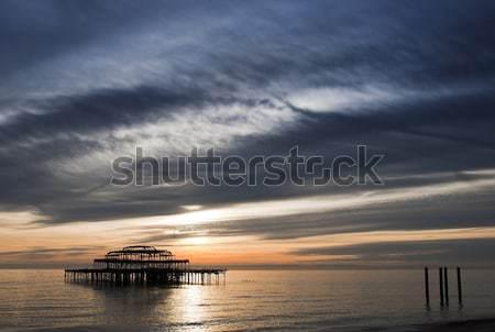 Ouest pier coucher du soleil sussex ciel soleil Photo stock © dutourdumonde