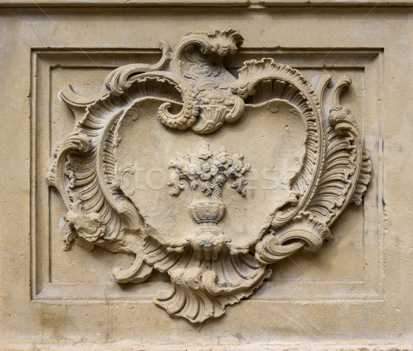Stock photo: Old stone relief with decoration in rectangle
