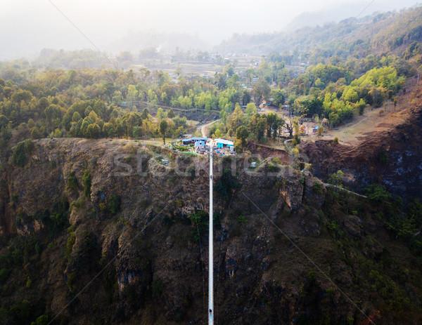 Vista puente colgante Nepal río construcción paisaje Foto stock © dutourdumonde