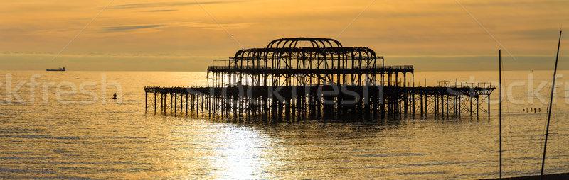 Zachód molo wygaśnięcia wody Świt stali Zdjęcia stock © dutourdumonde