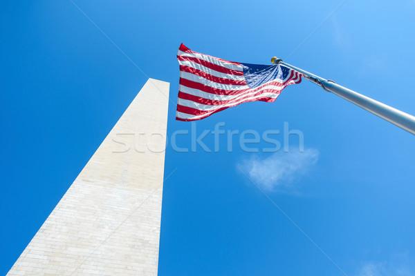 Washington Anıtı ABD bayrak Amerika Birleşik Devletleri Amerika gökyüzü Stok fotoğraf © dutourdumonde