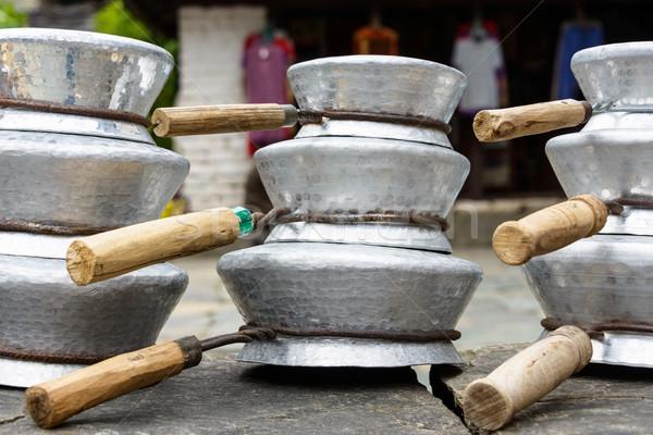 Aluminium pans in Nepal Stock photo © dutourdumonde