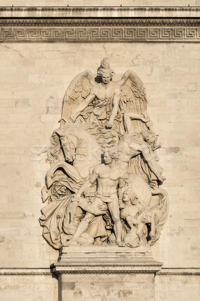 Statues on the Arc de Triomphe in Paris Stock photo © dutourdumonde