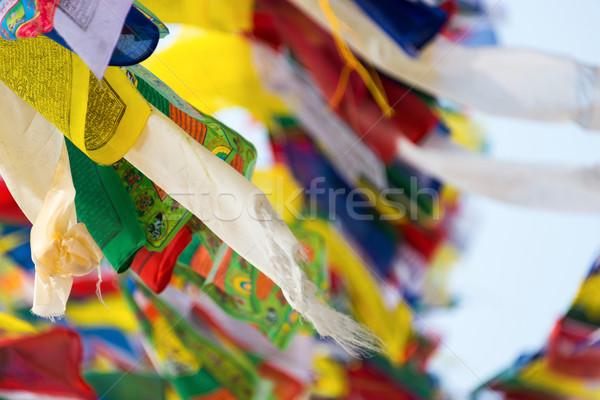 Foto stock: Oração · bandeiras · voador · vento · viajar · buda