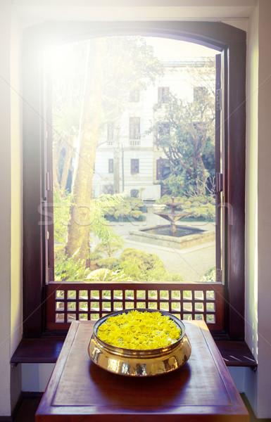 Yellow flowers and open window Stock photo © dutourdumonde