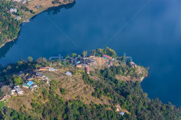 Göl Nepal ev alan mavi Stok fotoğraf © dutourdumonde