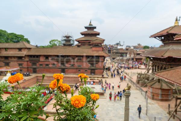 Vierkante Nepal focus mensen gebouw uit Stockfoto © dutourdumonde