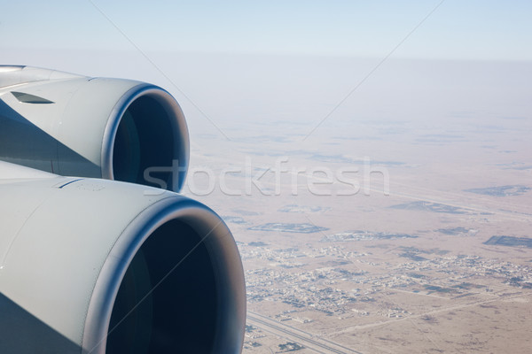 Airliner jet engines and desert landscape Stock photo © dutourdumonde
