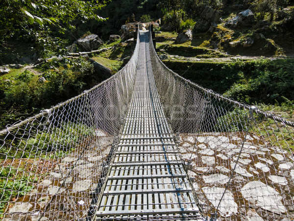 Suspension bridge in Nepal Stock photo © dutourdumonde