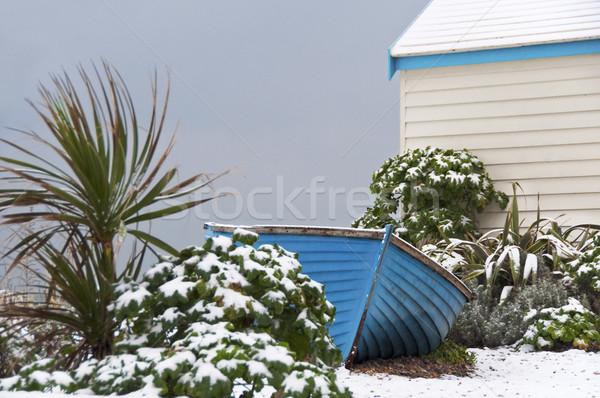 Blue fisherman boat in winter Stock photo © dutourdumonde