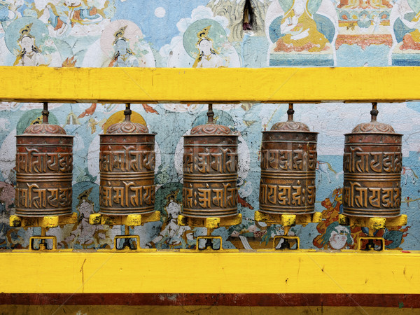 Prayer wheels at Bodhnath stupa in Kathmandu Stock photo © dutourdumonde