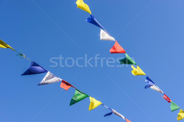 Preghiera bandiere cielo blu Nepal blu bianco Foto d'archivio © dutourdumonde