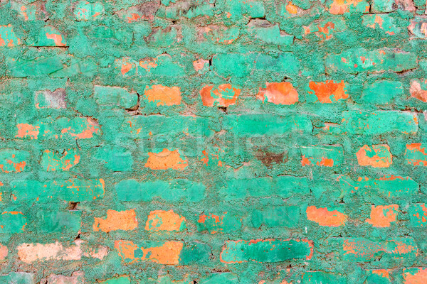 Stock photo: Green brick wall