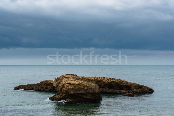嵐の 天気 海 風景 岩 空 ストックフォト © dutourdumonde