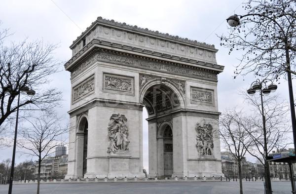 Сток-фото: Триумфальная · арка · Париж · утра · зима · Франция · город