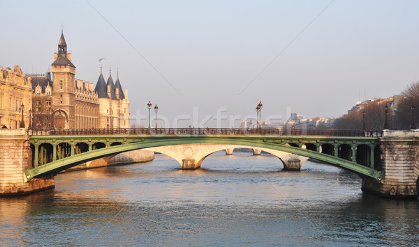Ponte Paris França cidade pôr do sol metal Foto stock © dutourdumonde