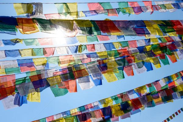 Modlitwy flagi Nepal słońce niebieski podróży Zdjęcia stock © dutourdumonde