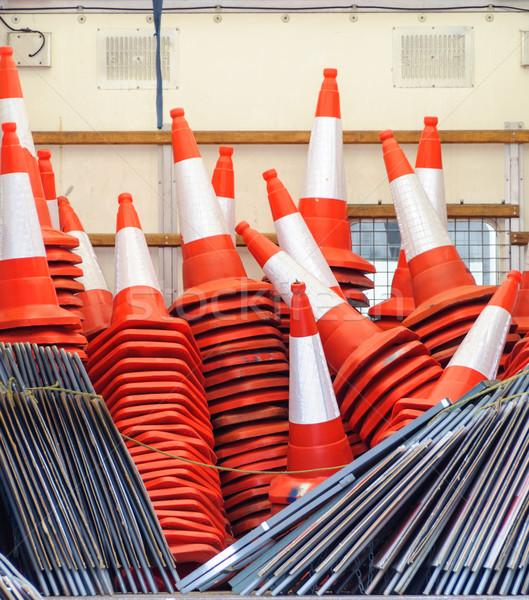Narancs forgalom építkezés felirat piros szín Stock fotó © dutourdumonde