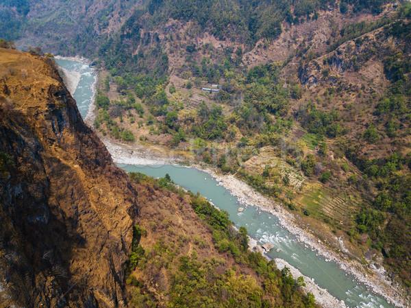 реке Непал глубокий дерево закат Сток-фото © dutourdumonde