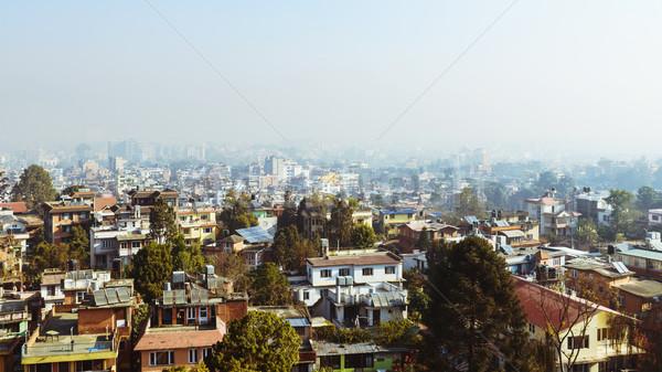 Kilátás Nepál ködös reggel ház épület Stock fotó © dutourdumonde