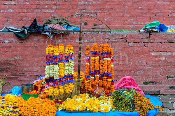 Marigold necklaces in Kathmandu Stock photo © dutourdumonde