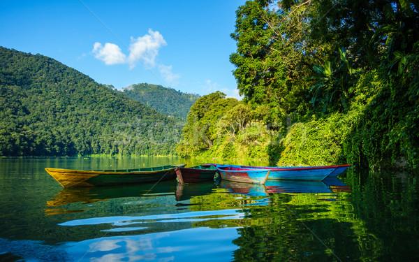 красочный небольшой лодках озеро Непал воды Сток-фото © dutourdumonde