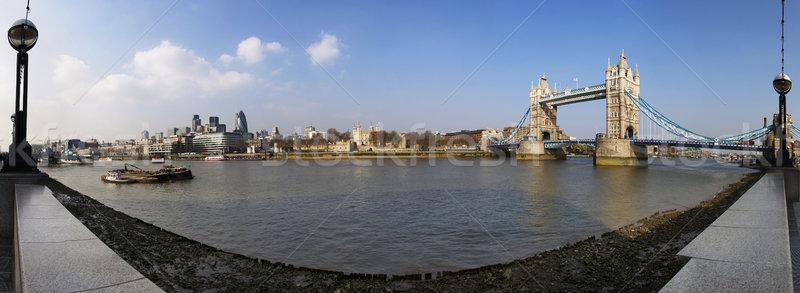 Сток-фото: Лондон · панорамный · мнение · реке · Темза · передний · план
