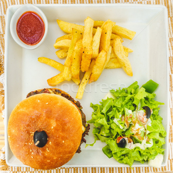 Burger with salad and  chips Stock photo © dutourdumonde