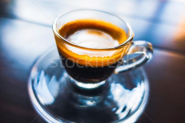 Café expresso café vidro copo mesa de madeira colorido Foto stock © dutourdumonde
