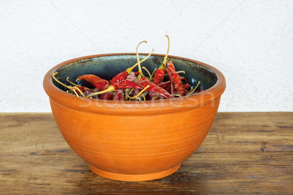 Red chilis in a bowl Stock photo © dutourdumonde