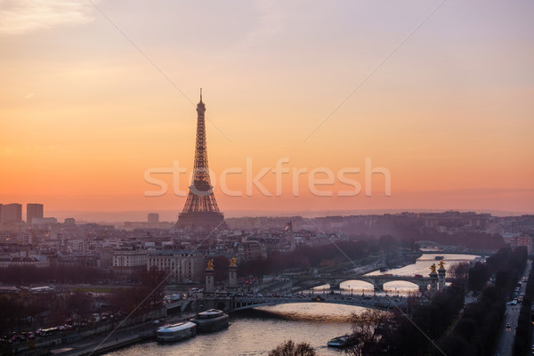 Foto stock: Torre · Eiffel · Paris · França · pôr · do · sol · inverno · ponte